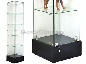 Black Glass Square Display Tower Case Knocked Down Showcase sc gs20b