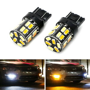 White Amber Dual Color Switchback 7443 7444 T20 Led Bulbs For Front Turn Signal