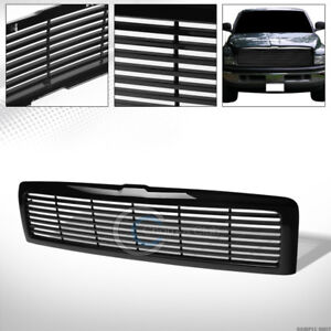 Glossy Black Horizontal Front Hood Bumper Grill Grille Cover Abs 94 02 Dodge Ram