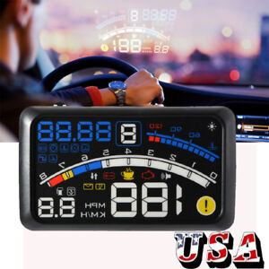 5 5 Universal Obd2 Obdii Car Hud Head Up Display Overspeed Warning System Us