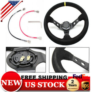 350mm Deep Dish 6 Bolt Suede Pu Leather Sport Racing Drifting Steering Wheel Us
