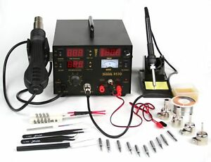 Kendal 853d 4 In 1 Smd Hot Air Rework Soldering Iron Station Dc Power Supply