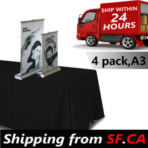 4 Pack mini Table Top Retractable Trade Show Display Banner Stand A3 11 1 2 X 17