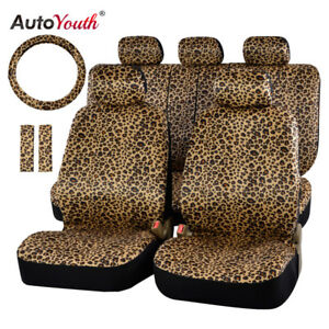 Luxury Leopard Print Car Seat Cover Universal Seat Belt Pads 38 Steering Wheel
