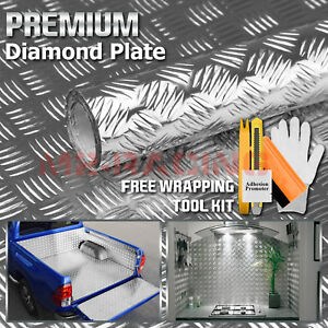 48 x120 Silver Chrome Diamond Plate Vinyl Decal Sign Sheet Film Self Adhesive