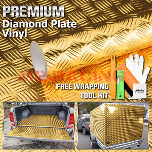 48 x96 Gold Chrome Diamond Plate Vinyl Decal Sign Sheet Film Self Adhesive