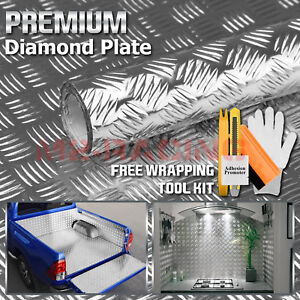 48 x96 Silver Chrome Diamond Plate Vinyl Decal Sign Sheet Film Self Adhesive