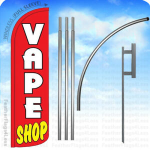 Vape Shop Windless Swooper Flag 15 Kit Feather Banner Sign Rz