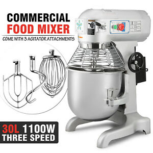 30qt Dough Food Mixer Blender 1 5hp Stand Mixer Commercial Splash Guard Updated