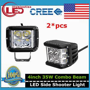 2x 4 Inch 35w Dual Side Shooter Cube Pods Cree Led Work Light Combo Driving Lamp