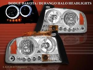 Dodge Dakota Durango Headlights Led 2 Halo 1997 1998 1999 2000 2001 2002 2004