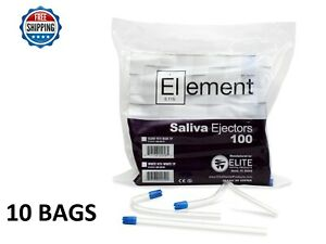1000 Pc Saliva Ejector Clear W Blue Tip Bendable Dental Disposable Ehros 6