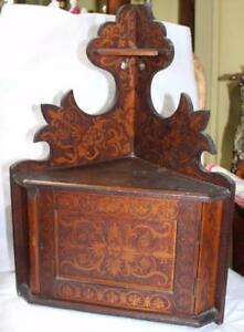 Small Arts Crafts Inlaid Wall Hanging Corner Cupboard