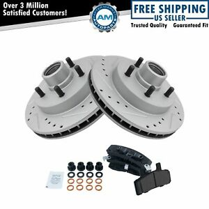 Nakamoto Front Ceramic Brake Pad Performance Drilled Slotted Coated Rotors