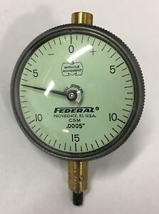 Federal C5m Dial Indicator W lug Back 0 075 Range 0005 Graduation