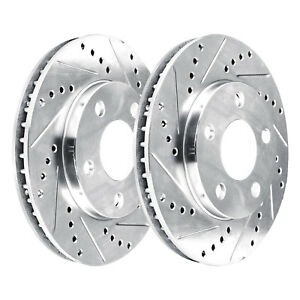 Front Kit 2 Platinum Hart Drilled Slotted Front Disc Brake Rotors 2594