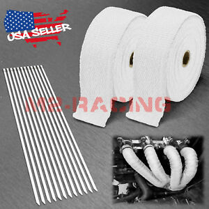 2 Rollx2 50ft White Exhaust Thermal Wrap Manifold Header Isolation Heat Tape