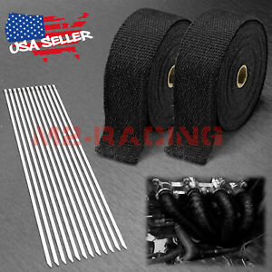 2 Rollx2 50ft Black Exhaust Thermal Wrap Manifold Header Isolation Heat Tape