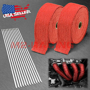 2 Roll X 2 50ft Red Exhaust Wrap Header Manifold Fiberglass Heat Wrap Tape