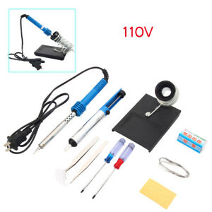 110v 60w External Heating Electric Soldering Iron Kit With Stand Solder Sucker