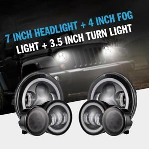 7 Led Headlight Turn Signal Fender Fog Light Lamp Kit 2007 18 Jeep Wrangler Jk