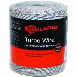 Gallagher G620564 Turbo Wire For Long Portable Fences Ultra White 1312
