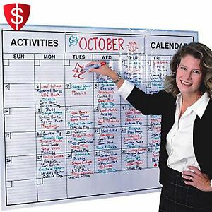 Wall Calendar Dry Erase Monthly Planner Office Stick Marker Whiteboard Weekly