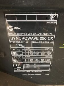 Miller Syncrowave 250 Water Cooeld Tig Welder Runner