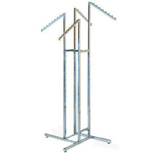 4 way Garment Rack 18 Slant Arms Square Tubing Chrome