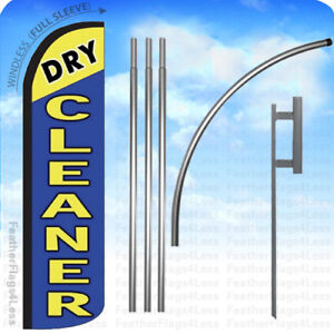 Dry Cleaner Windless Swooper Flag 15 Kit Feather Banner Sign Bz