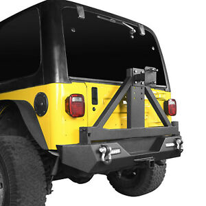 Rear Bumper W tire Carrier Hitch Receiver Black For 1997 2006 Jeep Wrangler Tj