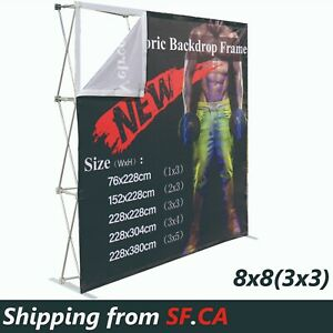 8 x8 Tension Fabric Backdrop Booth Frame Straight Pop Up Display Stand 3x3