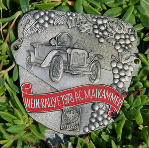 Vintage Enamel German Automobile Car Badge Adac Wine Rally Ac Maikammer 1978