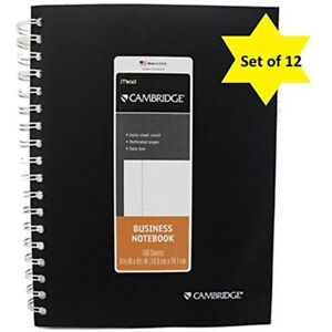 Cambridge Deluxe Covered Wirebound Business Notebook 6 5 8 9 1 2 Inches White