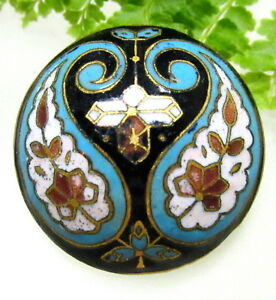Wonderful Antique Domed Champleve Enamel Button W Paisley Design G109