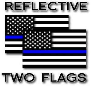 2x Reflective Blue Lives Matter Police Usa Blue Line Decal Stickers 12 Sizes