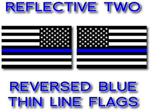 2x Reflective Reversed Blue Lives Matter Police Usa American Flag Decal Sticker