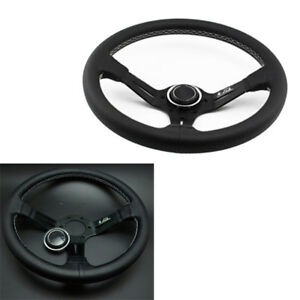 1pc 350mm Leather Steering Wheel Mid Deep Dish Omp Racing Drifting White Stitch