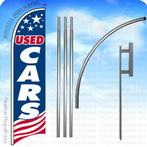 Used Cars Windless Swooper Flag 15 Kit Feather Banner Sign Usa Bb