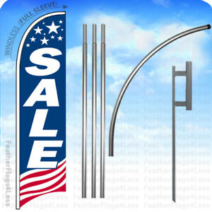 Sale Windless Swooper Flag 15 Kit Feather Banner Sign Usa Bb