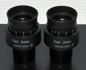 2 Zeiss Eyepieces 45 50 43 455043 W Pl 10x 23 Focusing High Eyepoint 30mm Tube