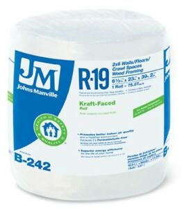 Johns Manville 90003720 Kraft faced R 19 Fiberglass Insulation Roll 23 X 39 2