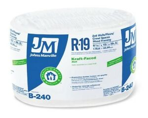 Johns Manville 90003719 Kraft faced R 19 Fiberglass Insulation Roll 15 X 39 2