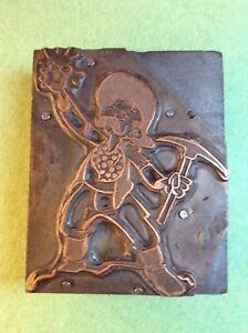 Vintage Letterpress Copper On Wood Block Classic Gold Miner Image
