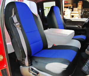 Dodge Ram 1998 2002 Black Blue S Leather Custom Made Fit Front Seat Cover