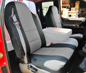 Dodge Ram 1998 2002 Black Grey S Leather Custom Made Fit Front Seat Cover