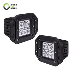 2pc 24w Led Off Road Flush Mount Cube Light Truck Bumper Driving Reverse Spot