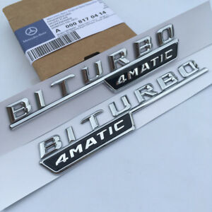2 X Biturbo 4matic Chrome Side Decal Badge Sticker For Mercedes benz W205 Amg