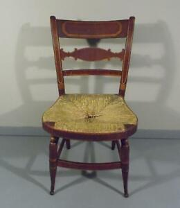 Antique Slat Back Rush Seat Hand Painted Stenciled Ct Farmhouse Chair C 1810