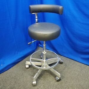 Dental Assistant Stool New Black Upholstery Cracked Foot Ring Flaw In Asst Arm